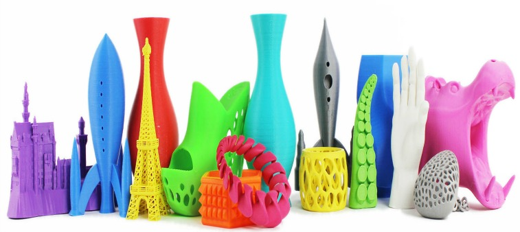 Plastic items that are printed on a 3D printer
